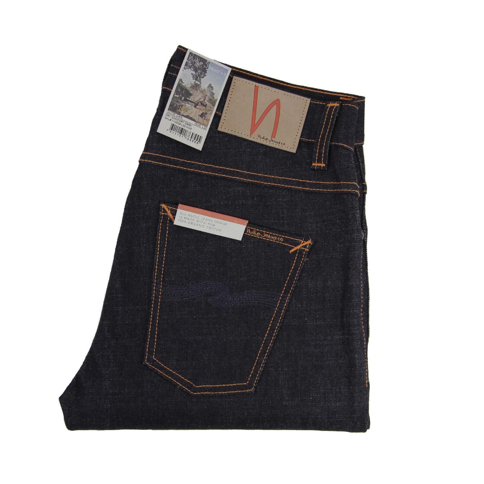 Nudie Dude Dan, Jeans, Dry Comfort Dark, Dunkelblue, Baumwolle, 112529, Neu