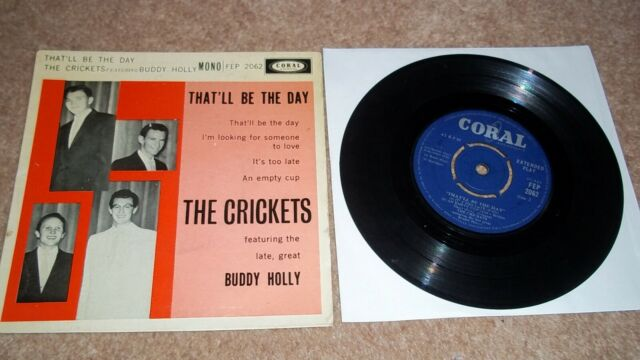 "THE CRICKETS feat BUDDY HOLLY EP VINYL 7"" 45 Rock n Roll CORAL"