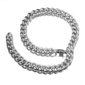 Men-Boy-Silver-Stainless-Steel-Necklace-Choker-Collar-Rapper-Jewelry-Chain-Gift