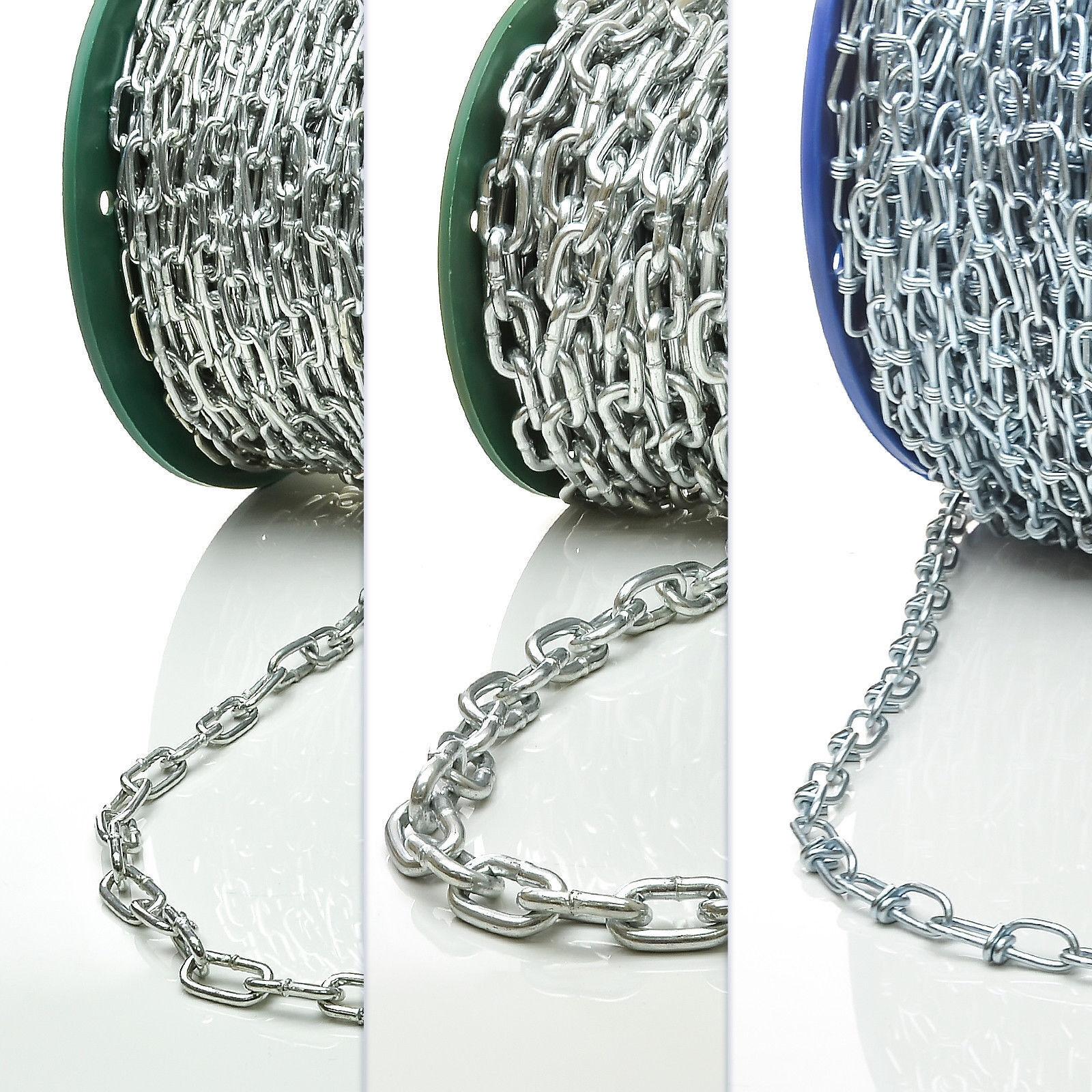 Stahlkette kurzgliedrig & langgliedrig verzinkt Knotenkette Eisenkette DIN Stahl Stahl Stahl 61b3bb