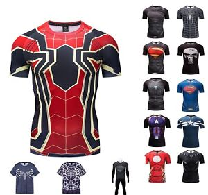 Superhero-Superman-Marvel-Panther-3D-Compression-T-shirt-Fitness-Cycling-GYM-TOP