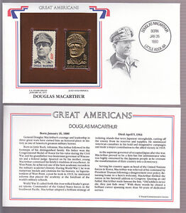 DOUGLAS-MacARTHUR-1971-STAMP-ON-COVER-GREAT-AMERICANS-with-22-kt-GOLD-REPLICA