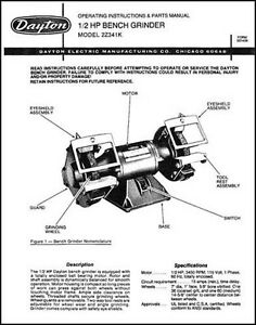 Dayton Bench Grinder Parts And Operating Manual Ebay