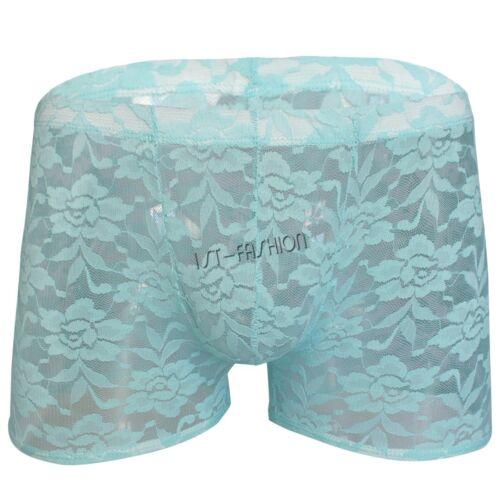 Herren Durchsichtig Unterwäsche Slips Spitze Boxer Short Boxershorts Unterhose