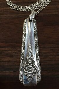 Antik-Vintage-Loeffel-Gabel-Eleganz-WM-Rogers-Mfg-Halskette-Silber-Schmuck