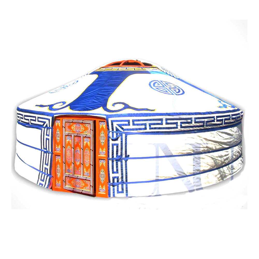 Mongolian Yurt, bluee Canvas Cover