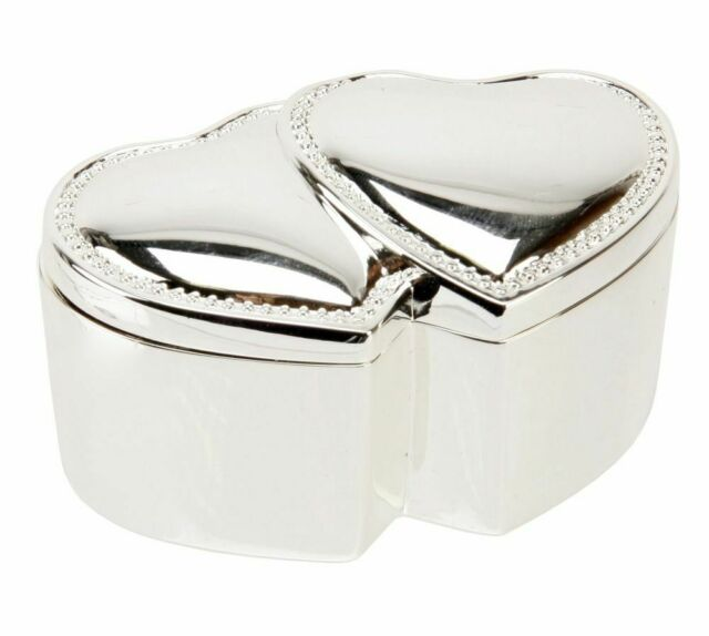 SILVER PLATED WEDDING RING BOX - Double Hearts - Double Ring Box in a BOX-NEW