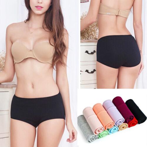 Women Solid Underwear High Waist Underpants Soft Briefs Cotton Knickers Panties