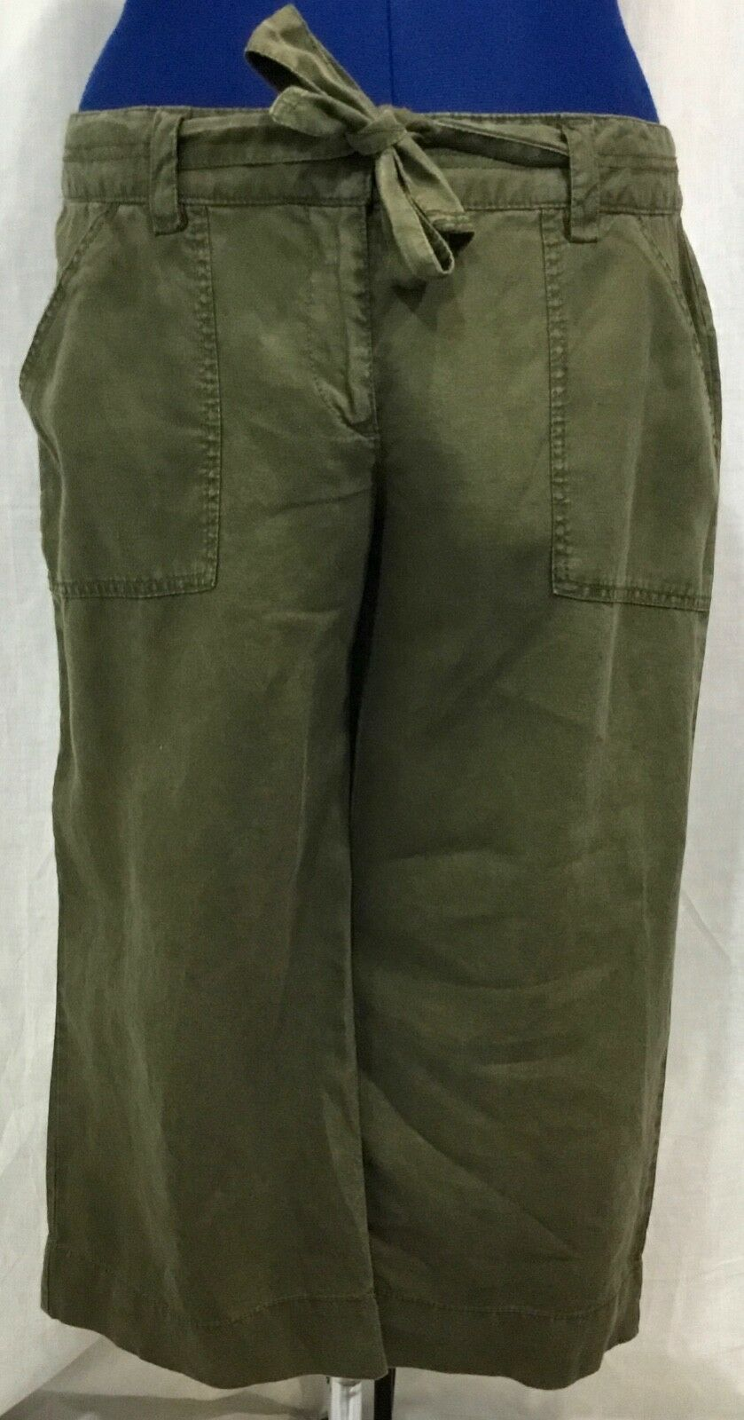 Old Navy 14 Linen Capri Army Grün Loose Cropped Pant Tied Belt Cuff Trouser VTG