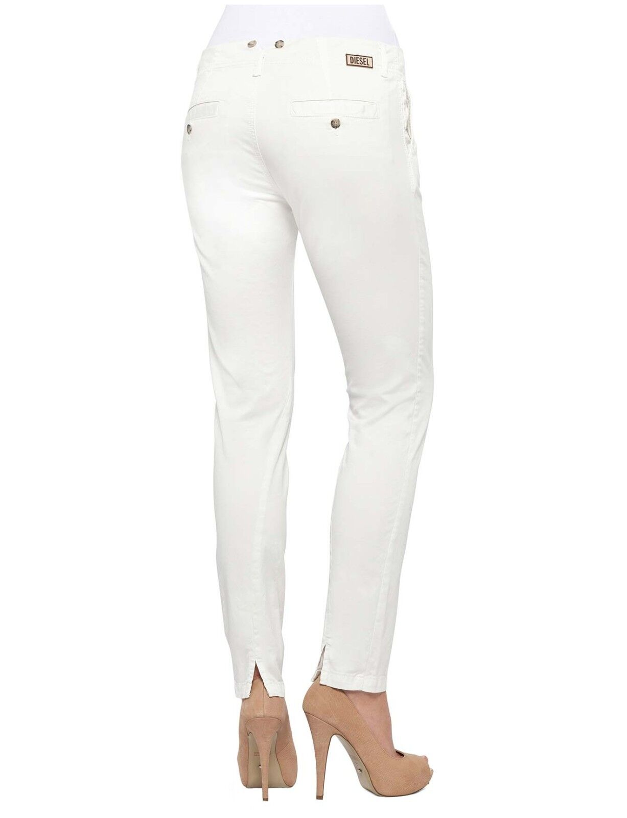 Diesel Jeans P-Detta-St Pantaloni Trousers Straight Leg Off White Pant 28 NWT