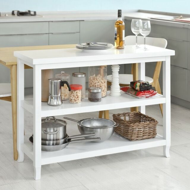 Sobuy Hallway Console Table Home Kitchen Storage Island In 3 Shelves Fsb06 W Uk