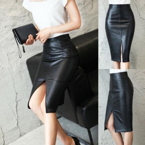 Women Slim Split Skirt PU Leather Pencil Bodycon High Waist Skirts Office Dress