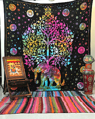 TIE DYE Queen elephant tapestry psychedelic hippie boho bohemian wall hanging