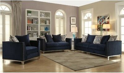 Navy Blue Sofa Love Seat Chair Stainless Steel Leg Living Room Furniture  Set 3pc | eBay