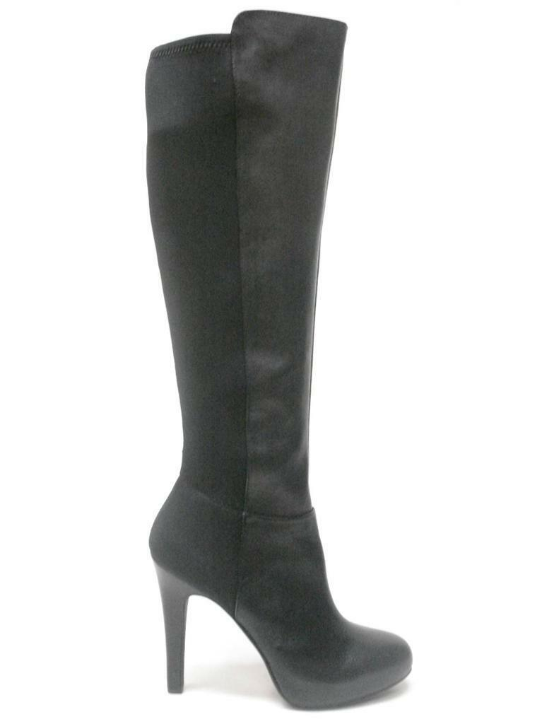 JESSICA SIMPSON AVALONA BLACK SILKY LEATHER SEXY KNEE HIGH PLATFORM BOOTS 8M