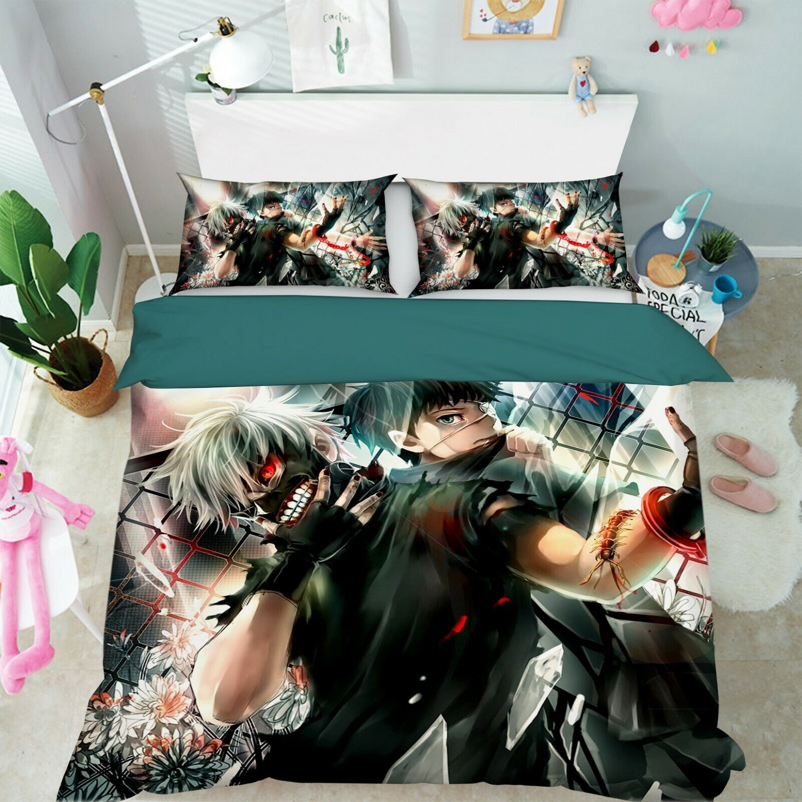 3D Tokyo Ghoul 786 Japan Anime Bed Pillowcases Quilt Duvet Cover Single AU