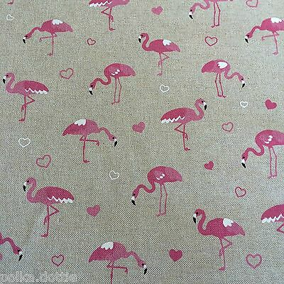 Flamingo Hearts Pink Design Linen Look Fabric Curtains Upholstery Craft