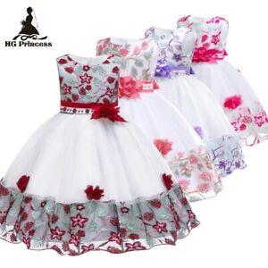 Flower-Girl-Pearls-Embroidered-Dress-Girls-Kids-Princess-Party-Flower-Dresses-ZG