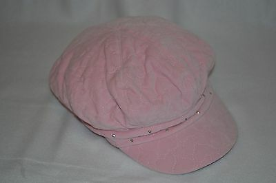 NWT Girls Pink Black Ivory Newsboy Cabbie Cap Hat Girls 10 and up NEW
