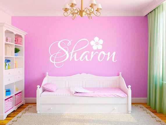 Hibiscus Name Wall Decal Monogram Girls Nursery Room Vinyl Wall Decal 18  Tall