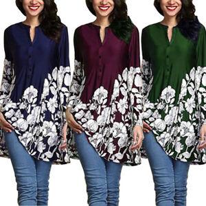 Plus-Size-Women-039-s-Loose-Long-Sleeve-V-Neck-Casual-Blouse-Shirt-Tunic-Tops-Blouse