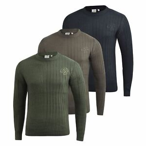 Mens-Knitwear-Crosshatch-Sweater-Textured-Knitted-Jumper