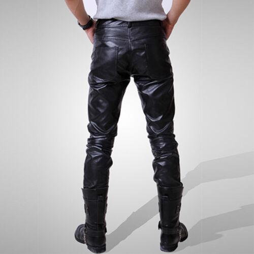 Uomo in Finta Pelle Stile Biker Pantaloni bagnato STADIO Metallico Lucido Moto Pantaloni