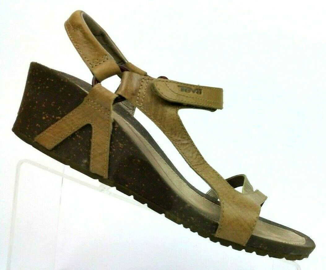 TEVA Cabrillo Pumice Stone Leather Ankle Strap Wedge Sandals Womens US 10 EUR 41
