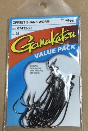 Gamakatsu Bulk Packs Hooks Offset Shank Worm  2//0 07412-25