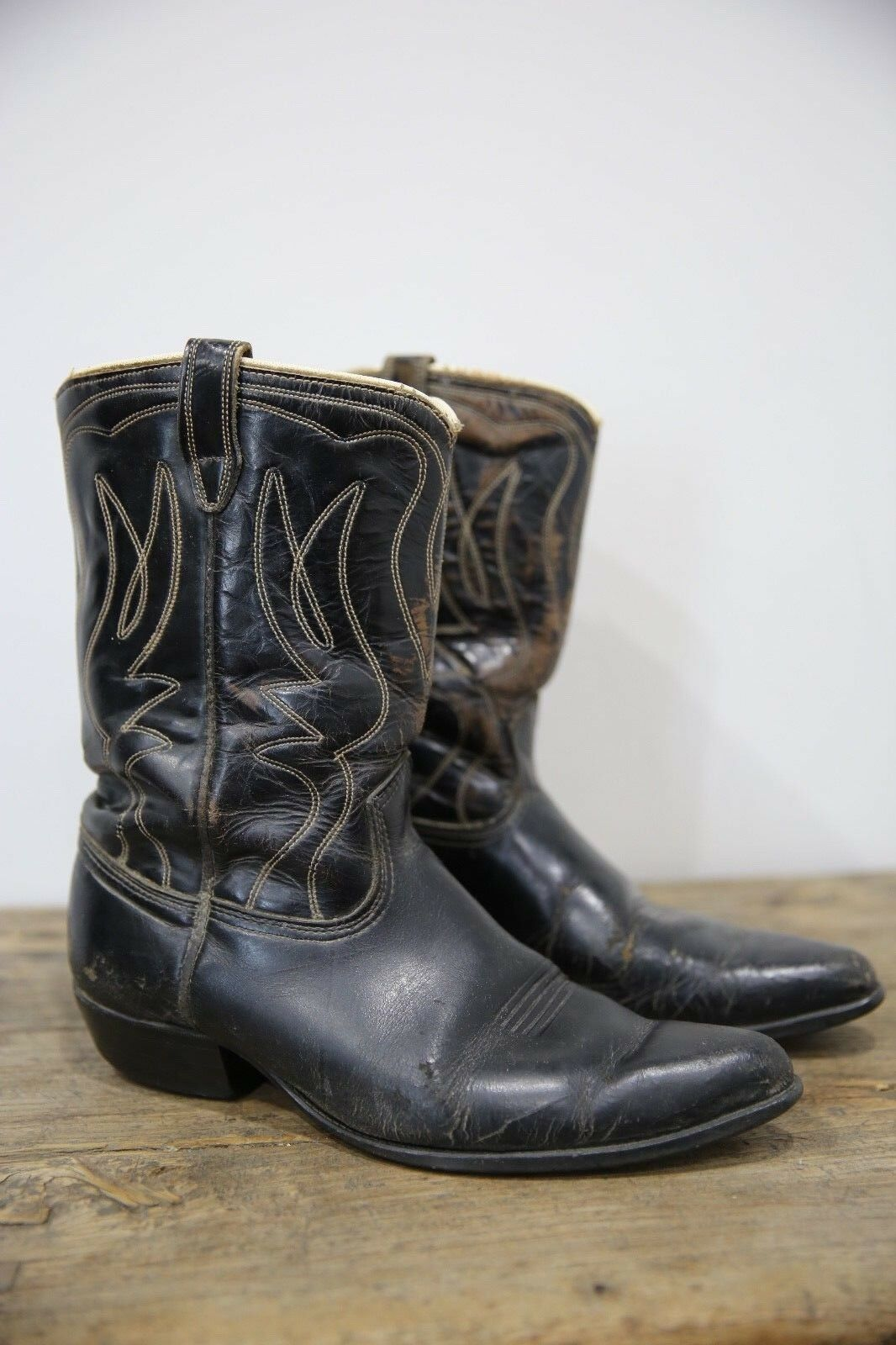 De Colección negro STITCHED STITCHED STITCHED Cowboy Cowgirl País Occidental botas del suroeste  grandes ofertas