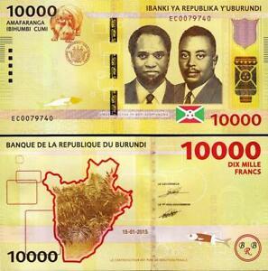 BURUNDI-10000-10-000-FRANCS-2015-P-54-HIPPO-NEW-UNC