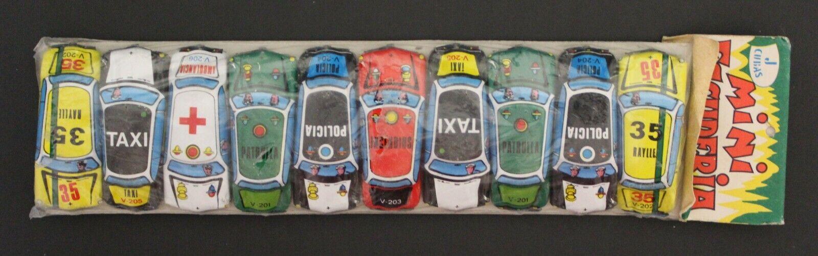 1960's J. Cubas MINI auto squadra Set of TEN 2   x 0.75  tin mini-autos vintage Spain  rivenditore di fitness