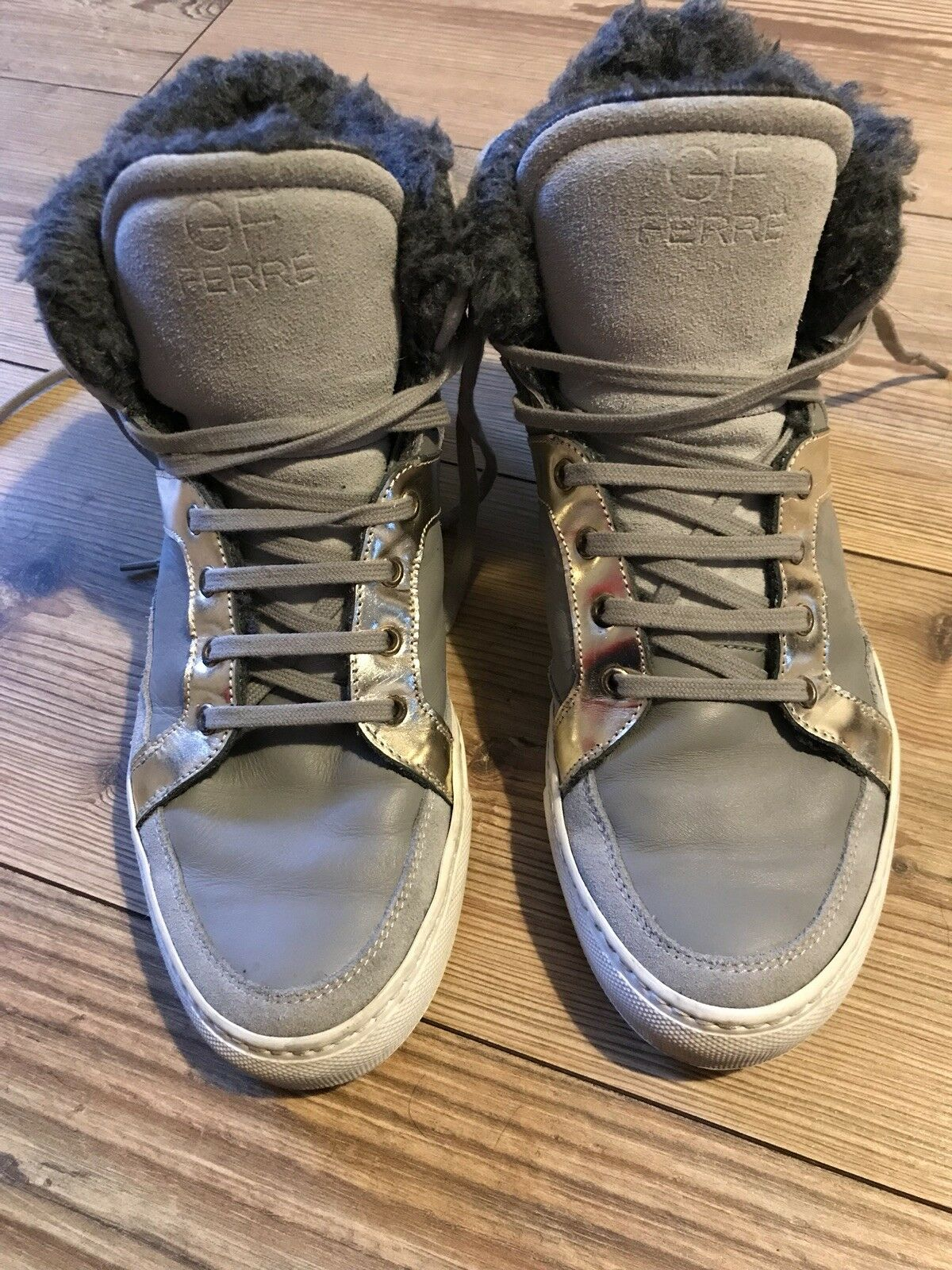 Luxury GF Gianfranco Ferre Hi Top Trainers Sneakers UK 6 EU 39