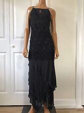 Sue Wong Nocturne Black Flapper Dress Fringe Beaded Tiered Asymmetrical Hem 14