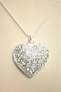 bb8460eb6b Image is loading Silver-Plated-Filigree-Large-Heart-Pendant-Necklace-Jewel-