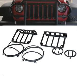 Black-tail-Light-Guard-Front-Turn-Signal-Steel-Cover-07-17-Jeep-Wrangler-JK