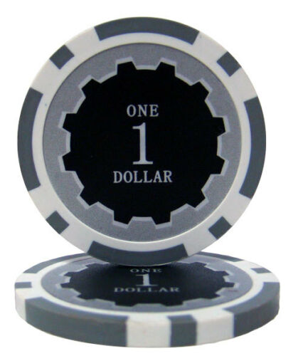 Roll of 25 Gray $1 Eclipse 14g Clay Casino Poker Chips New