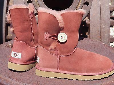 New Womens UGG BAILEY BUTTON Auburn Short Sheepskin Winter Boots 5803