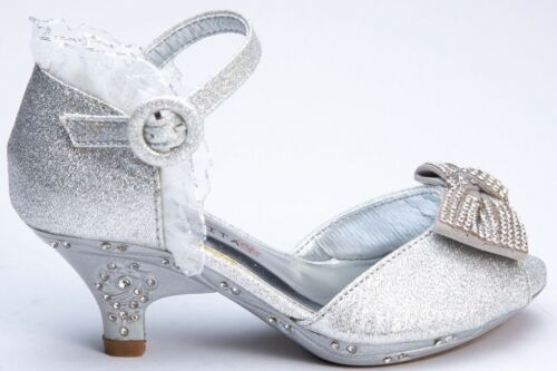 Girls Toddlers /& Youth Flowers Girls Pageant Glitter silver Shoes size 10-4