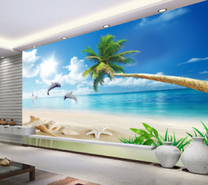 3D Sun Animal Beach 9  Wall Paper Murals Wall Print Wall Wallpaper Mural AU Kyra