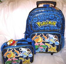 "Blue Pokemon Pikachu 16"" Rolling Backpack and matching lunchbox lunch bag-New"