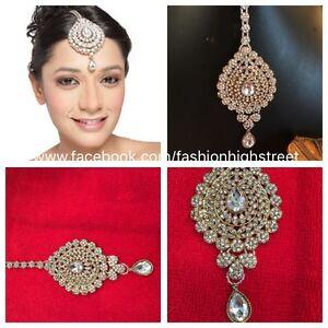 Indian Pakistani Bridal Clear Matha Patti Jhumar Head Jewellery