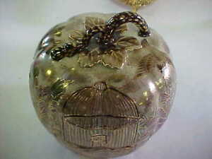 VINTAGE DRESSER POWDER BOWL WITH LOTS OF ART WORK IN GOLD
