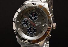 Seiko SKS407 Silver Steel Grey Dial Chronograph Designer Mens Watch