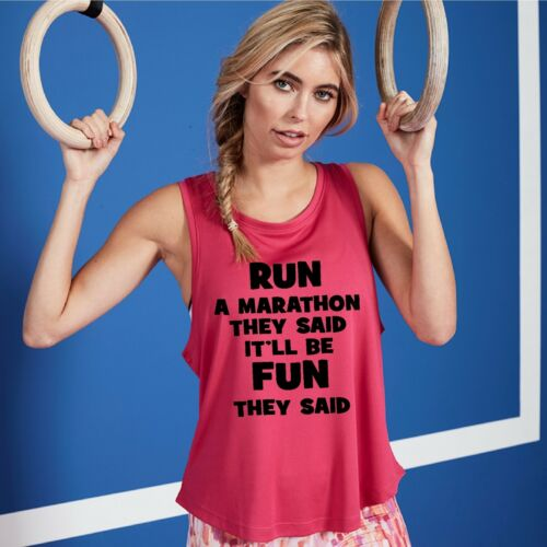 Run A Marathon Womens Funny Vest Running Exercise Ladies Fitness Sports Top