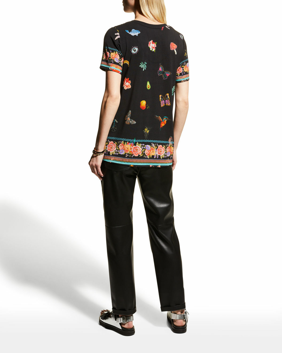 Johnny Was ZOOEY black V NECK BAMBOO Knit Tee Top Flower Blouse Shirt Slim L NEW