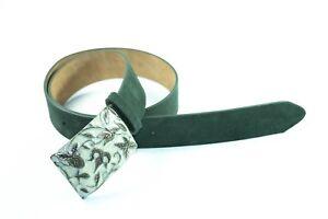 Cinturon de mujer Piel natural Serraje Hebilla chapa talla 85 ancho 4cm