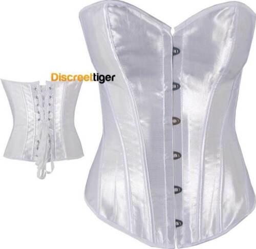 Elegant White Satin Corset Top Cincher Shapewear Petite /& Plus Sizes 6 to 26