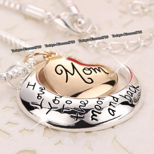 LOVE Gift For Her Rose Gold Heart Necklace Xmas Mum Mother Sister Daughter Women