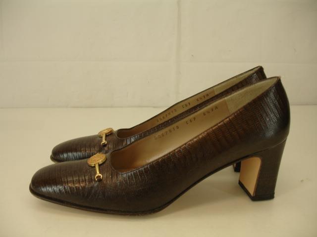 Womens 6.5 AA N Salvatore Ferragamo Brown Lizard Vara gold Medallion Pumps Heels